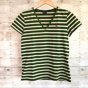Ralph Lauren Sport Green & Cream Striped V-Neck